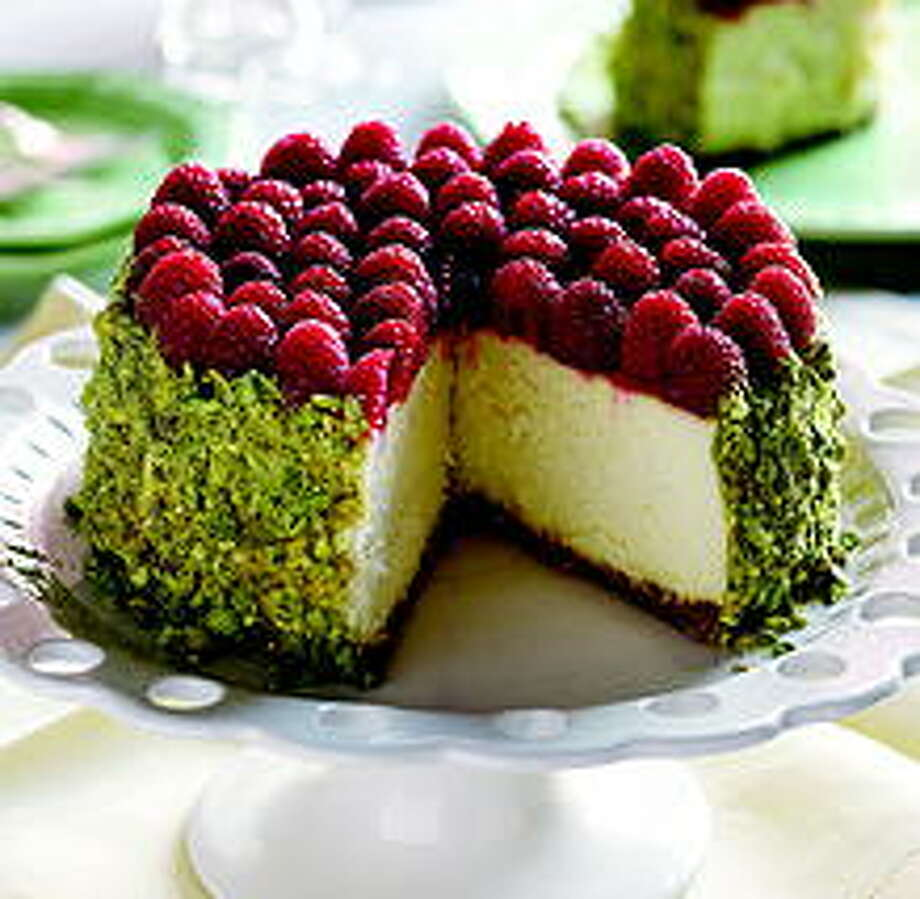 Cheesecake with pistachio and fresh fruit from SoNo Baking Company: Locations in Norwalk and Westport.  Visit the website SoNo Baking Company, 101 Water Street, Norwalk and 1680 Post Rd. East, Westport