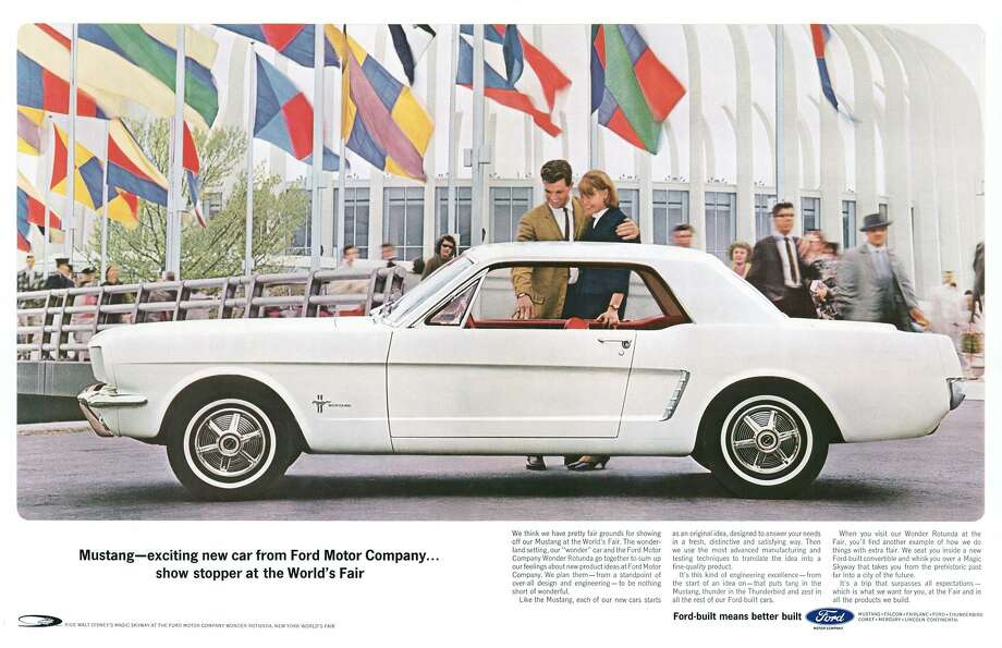 "The Mustang was unveiled with great fanfare at the 1964 World's Fair, but here we see a sort of soft introduction for the far-flung public. The car is sold based on the quality of the Ford brand rather than its own merits. Other than a bit of rhyming and alliteration and the brand slogan, ""Ford-built means better built,"" there isn't a tagline for the pony car just yet, although ""it puts the tang in Mustang"" does have an entertaining ring to it. Photo: Ford Motor Company"