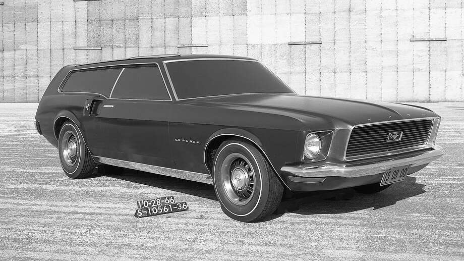 "In the mid-1960s, Ford designers considered at least a couple of different concepts for a Mustang station wagon, with at least one running prototype based on a 1966 coupe getting built. Another design study included elements for refreshed models that were coming later that decade. All of the known Mustang wagons were three-doors that were closer to a European ""shooting brake"" than a traditional American family station wagon. Photo: Ford Motor Company"