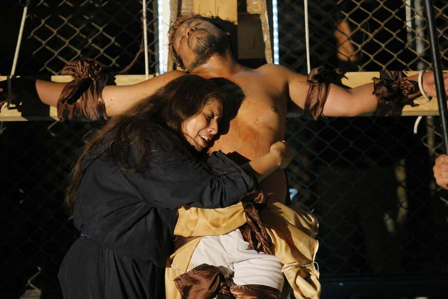 Inmates perform Jesus Christ Superstar inside the Sarita Colonia prison in Callao, Peru, Tuesday, April 15, 2014. Domestic and foreign prisoners put the play on for an audience of prison authorities during Holy Week for the third year in a row. Photo: Karel Navarro Pando, Associated Press