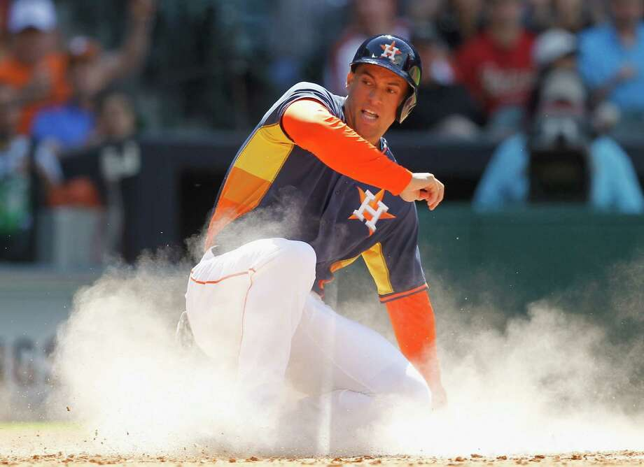 Outfielder George Springer is the latest former Tri-City ValleyCat to reach the major leagues. The Houston Astros called up the highly touted prospect prior to their game against the Kansas City Royals on April 16. Photo: Bob Levey, AP / FR156786 AP