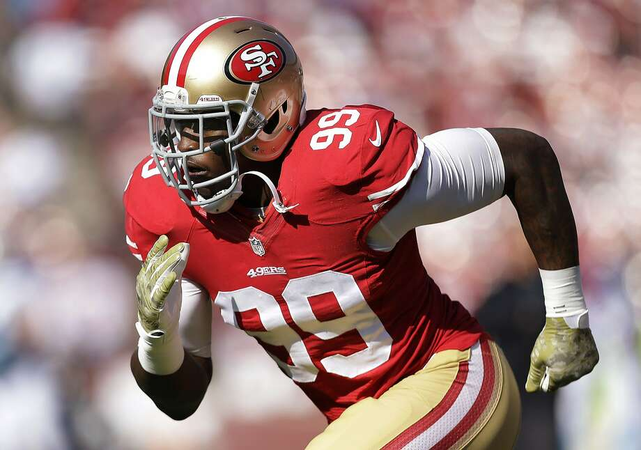 The 49ers have until May 3 to decide whether to exercise an option on Aldon Smith's contract. Photo: Marcio Jose Sanchez, Associated Press