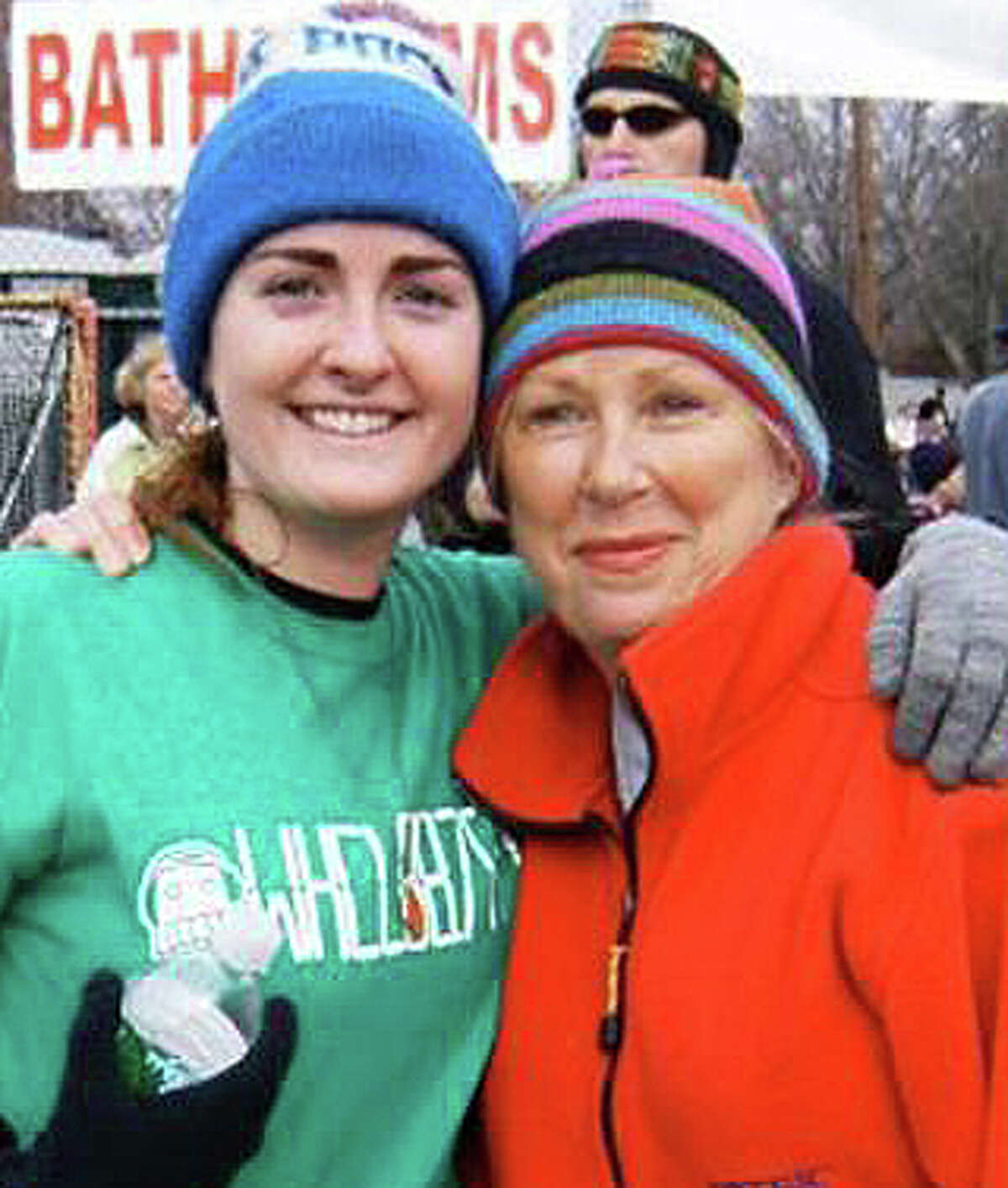 Former Fairfield resident Julia Daly, left, with her mother Sharon of Fairfield, will compete again in this year's Boston Marathon like thousands of other runners unable to finish last year's race because of terrorist bombings.