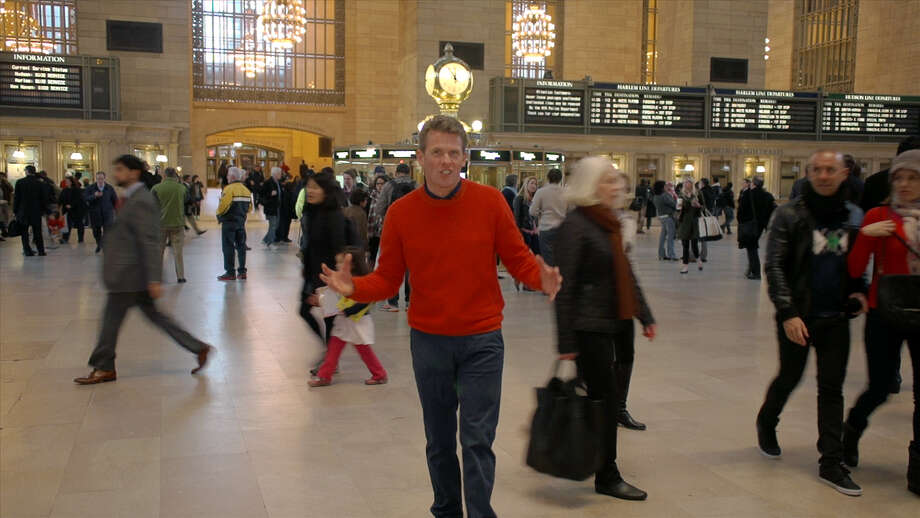 Drew Williams, pastor of Trinity Church in Greenwich, Conn. uses New York City as a backdrop for three videos he has made to deliver his Holy Week/Easter message using social media. In this scene he films in Grand Central Station. Photo: Contributed Photo / Greenwich Time Contributed