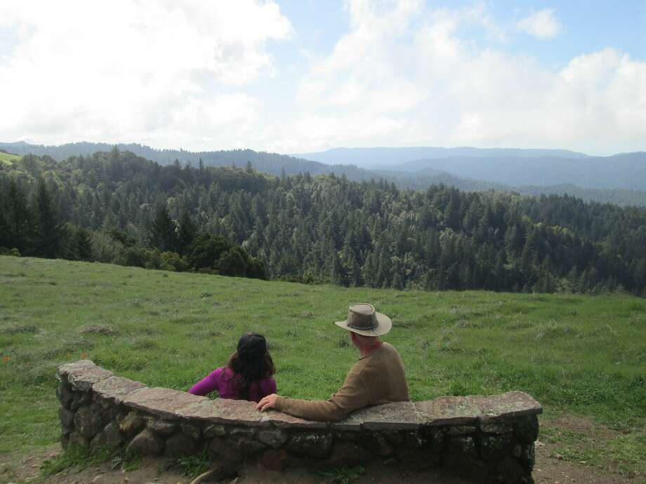 The Wallace Stegner Bench was named for the author who donated the land for Long Ridge preserve. Photo: Tom Stienstra