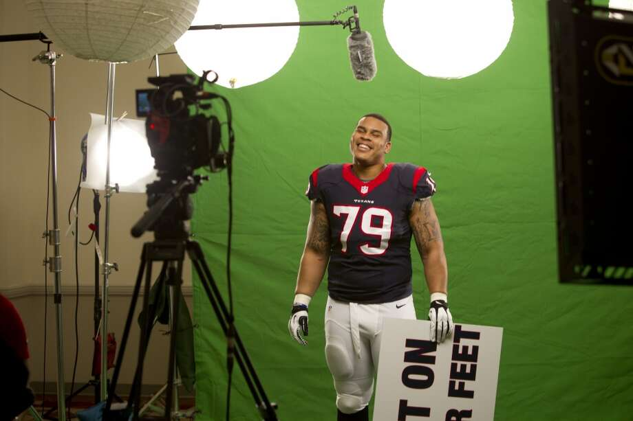 "Texans guard Brandon Brooks laughs while shooting a ""We Are Texans"" promotional campaign Photo: Brett Coomer, Houston Chronicle"