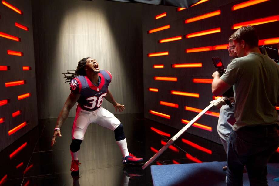 "Texans safety D.J. Swearinger poses while shooting a segment for the ""We Are Texans"" promotional campaign. Photo: Brett Coomer, Houston Chronicle"