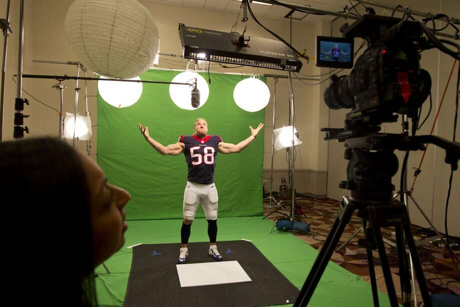 "Texans linebacker Brooks Reed poses while shooting a segment for the ""We Are Texans"" promotional campaign. Photo: Brett Coomer, Houston Chronicle"
