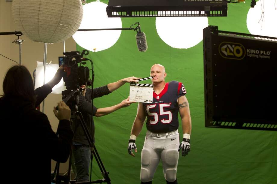 "Texans center Chris Myers gets ready to shoot a segment for the ""We Are Texans"" promotional campaign. Photo: Brett Coomer, Houston Chronicle"