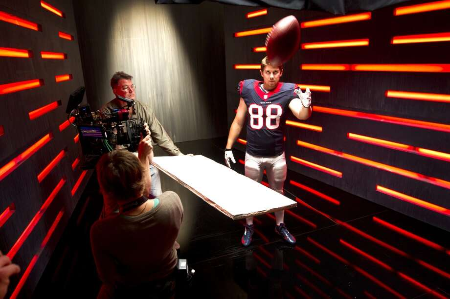 "Texans tight end Garrett Graham shoots a segment for the ""We Are Texans"" promotional campaign. Photo: Brett Coomer, Houston Chronicle"