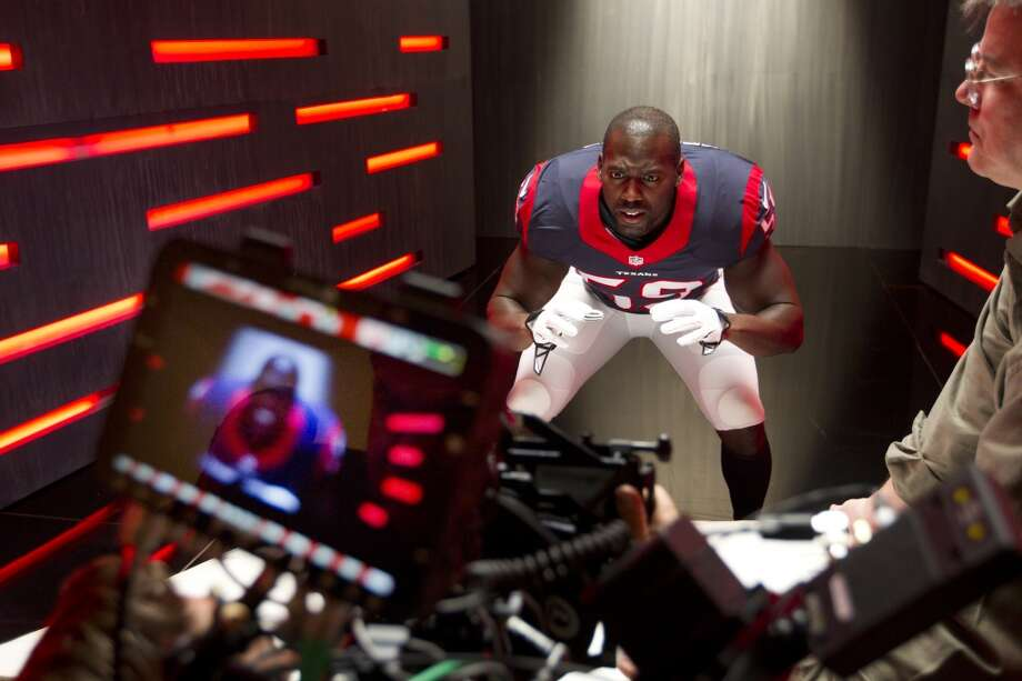 "Texans linebacker Whitney Mercilus shoots a segment for the ""We Are Texans"" promotional campaign. Photo: Brett Coomer, Houston Chronicle"
