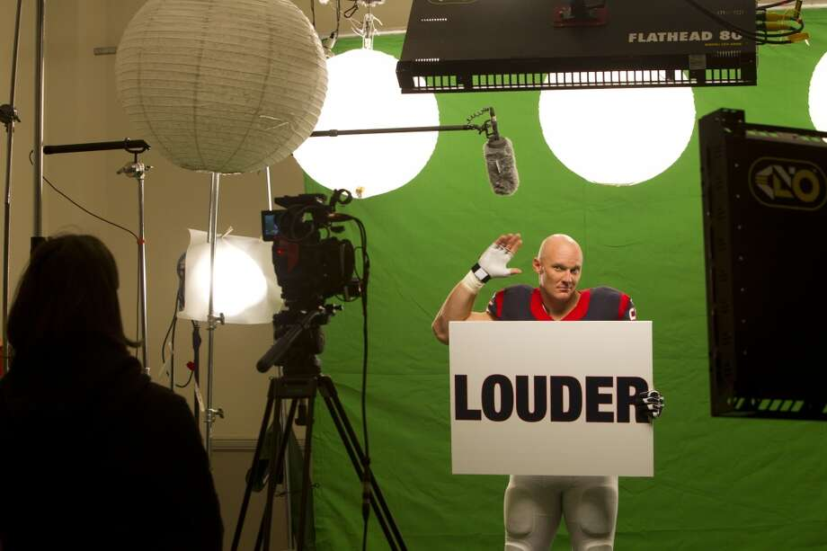"Texans center Chris Myers shoots a segment for the ""We Are Texans"" promotional campaign. Photo: Brett Coomer, Houston Chronicle"