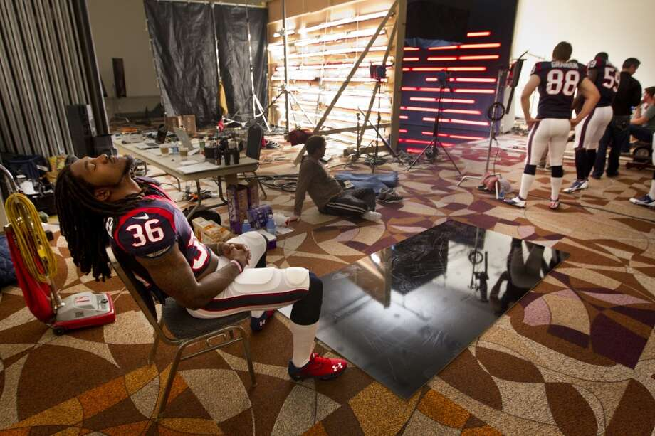 """Texans safety D.J. Swearinger waits his turn to shoot a segment for the """"We Are Texans"""" promotional campaign. Photo: Brett Coomer, Houston Chronicle"""