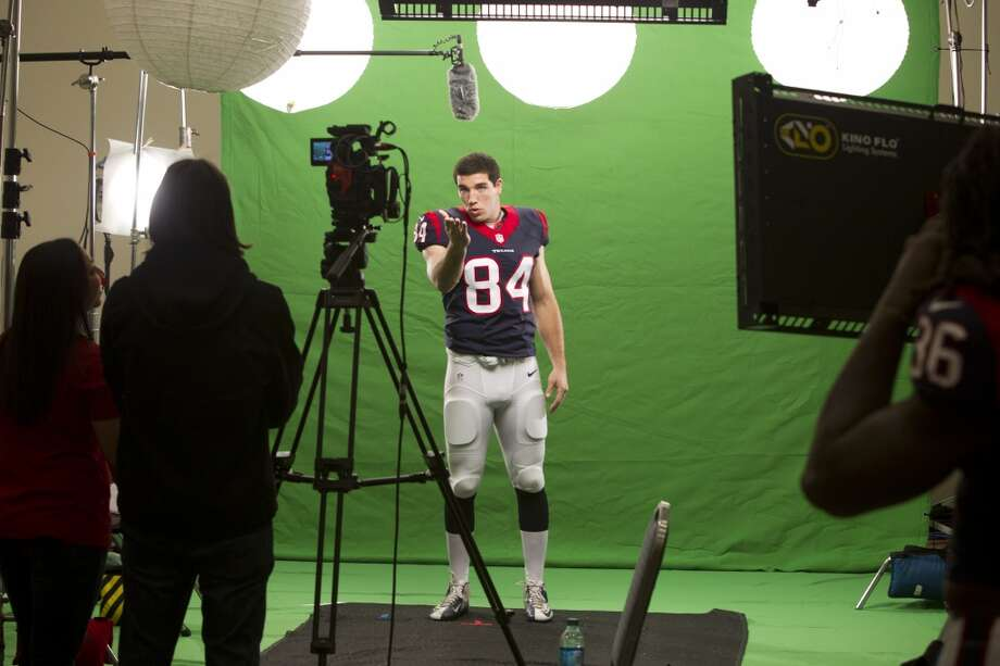 "Texans tight end Ryan Griffin shoots a segment for the ""We Are Texans"" promotional campaign. Photo: Brett Coomer, Houston Chronicle"