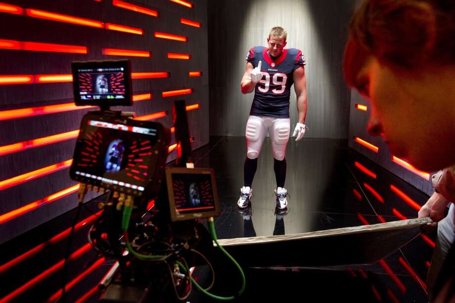 "Texans defensive end J.J. Watt shoots a segment for the ""We Are Texans"" promotional campaign. Photo: Brett Coomer, Houston Chronicle"