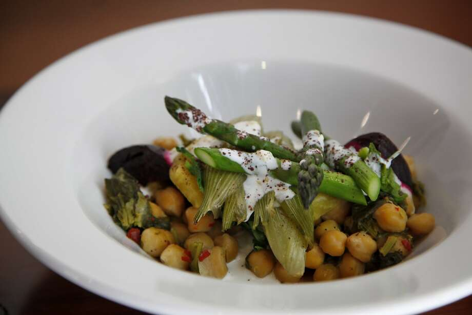 The chickpea bowl dish comes with preserved Meyer lemon yogurt at Assembly in Santa Cruz. Photo: Preston Gannaway, Special To The Chronicle