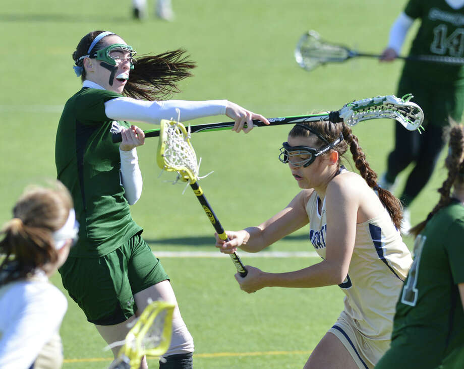 Girls high school lacrosse match between Convent of the Sacred Heart and Choate at Convent in Greenwich, Wednesday, April 16, 2014. Photo: Bob Luckey / Greenwich Time