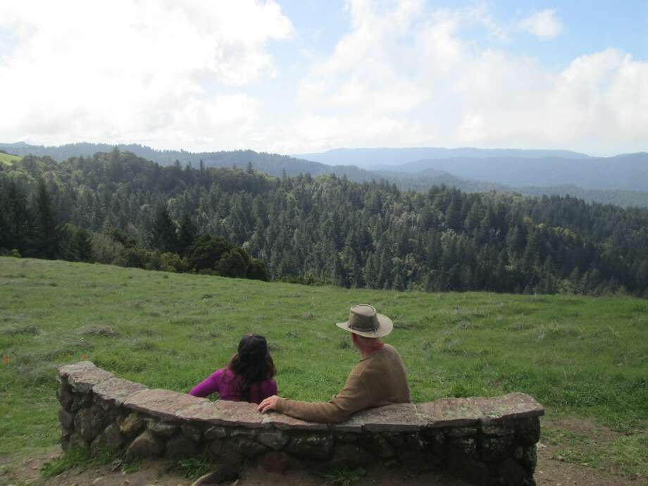 The Stegner Bench provides a view west over foothills, Butano Rim and to the coast Photo: Tom Stienstra
