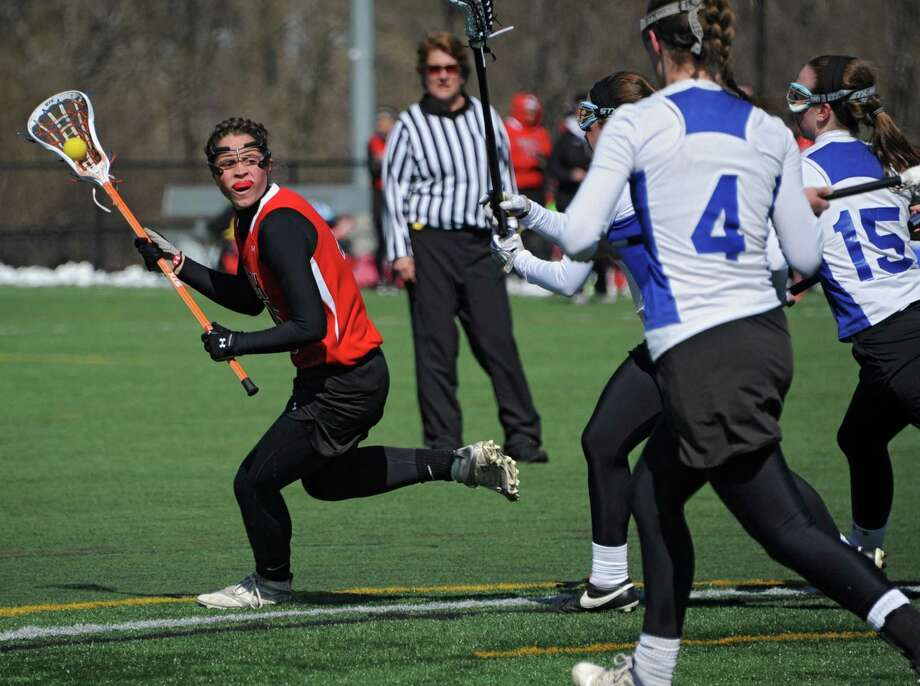 Guilderland's Cara Quimby runs with the ball during a lacrosse game against Shaker at Siena College on Wednesday, April 16, 2014 in Loudonville, N.Y. (Lori Van Buren / Times Union) Photo: Lori Van Buren / 00026482A