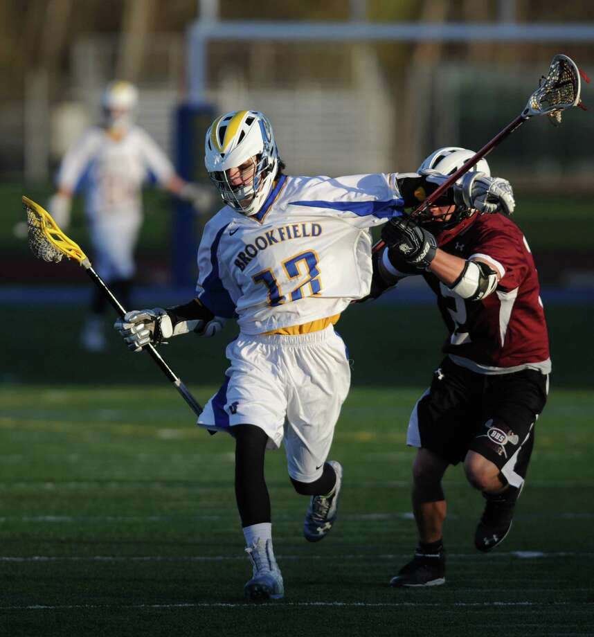 Photos from Brookfield's 15-7 win over Bethel in the high school boys lacrosse game at Brookfield High School in Brookfield, Conn. Wednesday, April 16, 2014. Photo: Tyler Sizemore / The News-Times