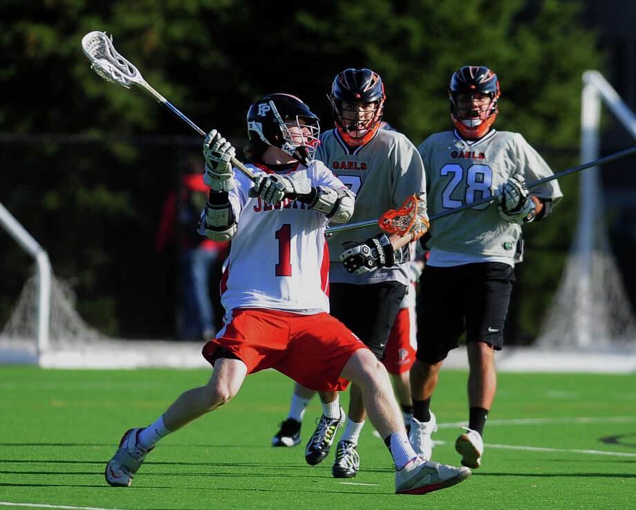 Fairfield Prep's Colin Smalkais attempts a goal shot, during boys lacrosse action against Shelton at Fairfield University in Fairfield, Conn. on Wednesday April 16, 2014. Photo: Christian Abraham / Connecticut Post