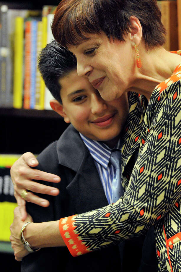 Narrative Essay Thesis Miriam Gonzerelli Hugs Her Student Luis Guaillas After He Read His  Winning Essay  Compare And Contrast High School And College Essay also Proposal Essay Topic Stamford Students Essay Wins Award For Teacher  Stamfordadvocate Essay Research Paper