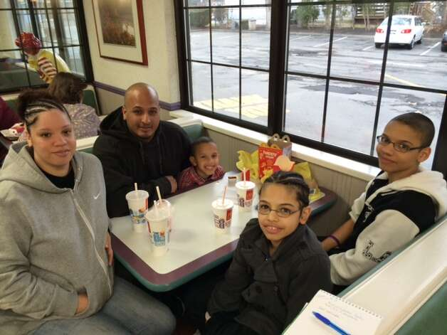 On April 8, local McDonald's restaurants hosted more than 40 schools in the annual McTeacher's Night fundraiser. Participating restaurants donated 20 percent of proceeds from the food and beverage sales during the 4:30 to 7 p.m. event to a local school. Here, the Thomas family visits the Altamont Avenue McDonald's to support Hamilton Elementary School, Schenectady. (Submitted)