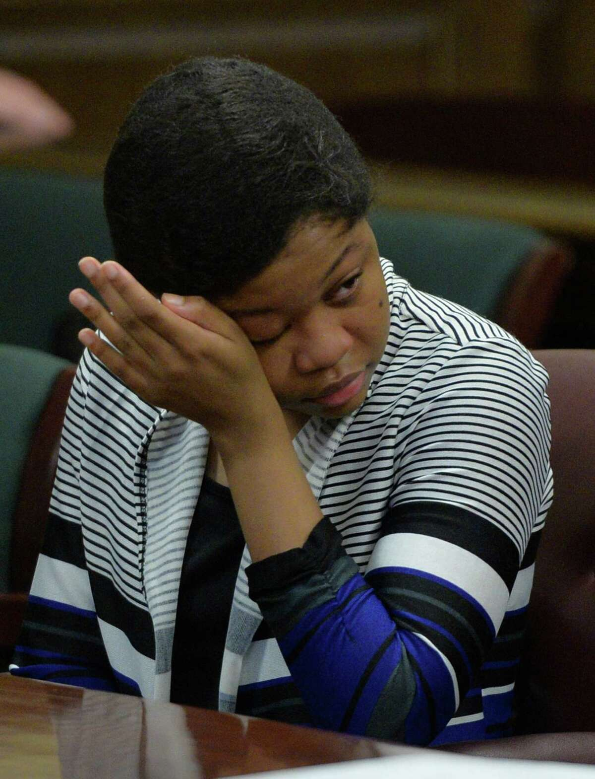 Trinity Copeland wipes tears from her eyes Wednesday morning, April 16, 2014, during opening statements in Trinity Copeland murder case at Rensselaer County Court in Troy, N.Y. (Skip Dickstein / Times Union)