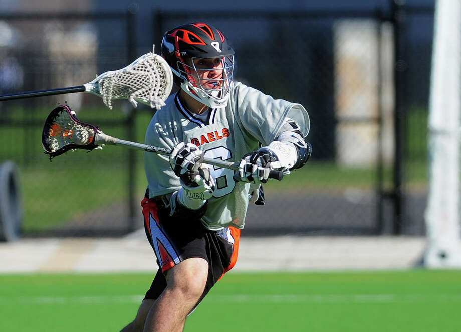 Shelton's David Hodosi, during boys lacrosse action against Fairfield Prep at Fairfield University in Fairfield, Conn. on Wednesday April 16, 2014. Photo: Christian Abraham / Connecticut Post