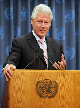 NEW YORK - JUNE 15:  Former U.S. President Bill Clinton speaks during a news conference at U.N. headquarters June 15, 2009 in New York City. Clinton has been named as special United Nations envoy to Haiti and discussed his plans for working with the impoverished Caribbean nation.  (Photo by Mario Tama/Getty Images) *** Local Caption *** Bill Clinton Photo: Mario Tama, Getty Images / 2009 Getty Images