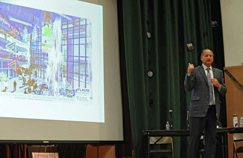 Developer David Flaum speaks during a public forum about the casino plans for Albany at Giffen Memorial Elementary School on Wednesday, April 16, 2014 in Albany, N.Y. (Lori Van Buren / Times Union) Photo: Lori Van Buren / 00026497A