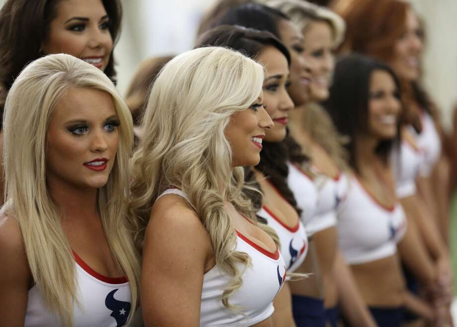 Girls wait nervously to hear their names being called out. Fifty girls showed up on April 16, 2014 at the Houston Texans practice facility in Houston, Texas to see which 35 girls made the 2014-2015, Houston Texans Cheerleading Team. Photo: Thomas B. Shea