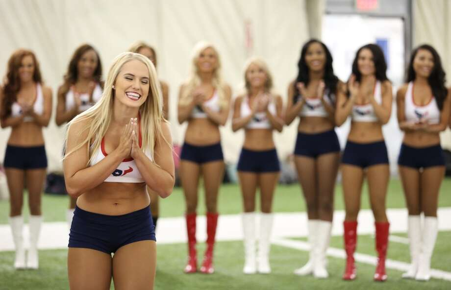 One of the 35 girls names is called. Fifty girls showed up on April 16, 2014 at the Houston Texans practice facility in Houston, Texas to see which 35 girls made the 2014-2015, Houston Texans Cheerleading Team. Photo: Thomas B. Shea