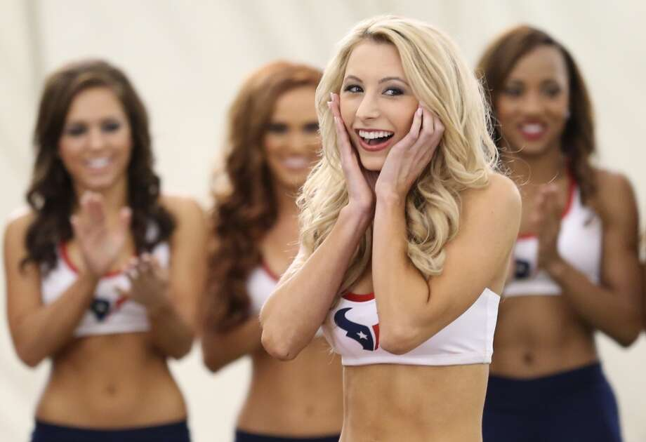 Brittany M. is shocked to hear her name called. This was Brittany fourth year trying out for the team. Fifty girls showed up on April 16, 2014 at the Houston Texans practice facility in Houston, Texas to see which 35 girls made the 2014-2015, Houston Texans Cheerleading Team. Photo: Thomas B. Shea