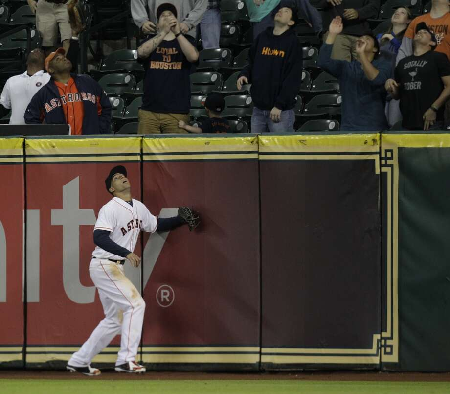 Houston Astros George Springer watches a home run hit by Kansas City Royals Mike Moustakas during the 11th inning at Minute Maid Park Wednesday, April 16, 2014, in Houston.  ( Melissa Phillip / Houston Chronicle ) Photo: Houston Chronicle