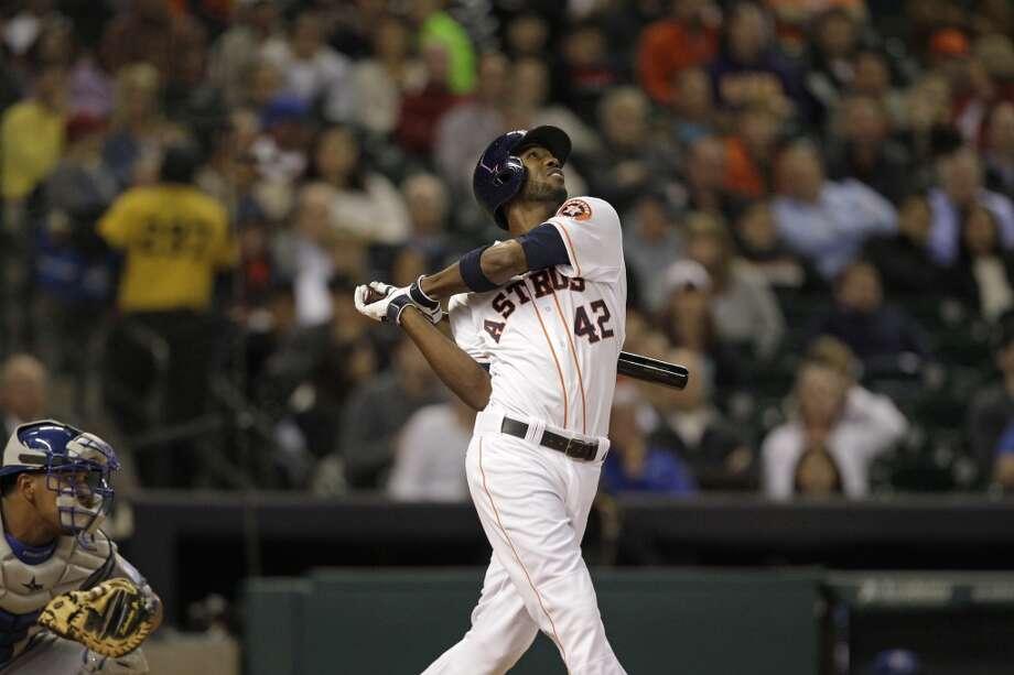 Dexter Fowler flies out. Photo: Melissa Phillip, Houston Chronicle