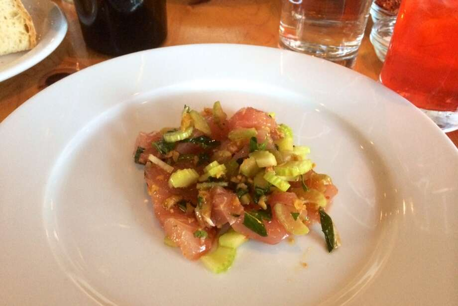 Yellowtail jack with celery, olives and mint  ($13)
