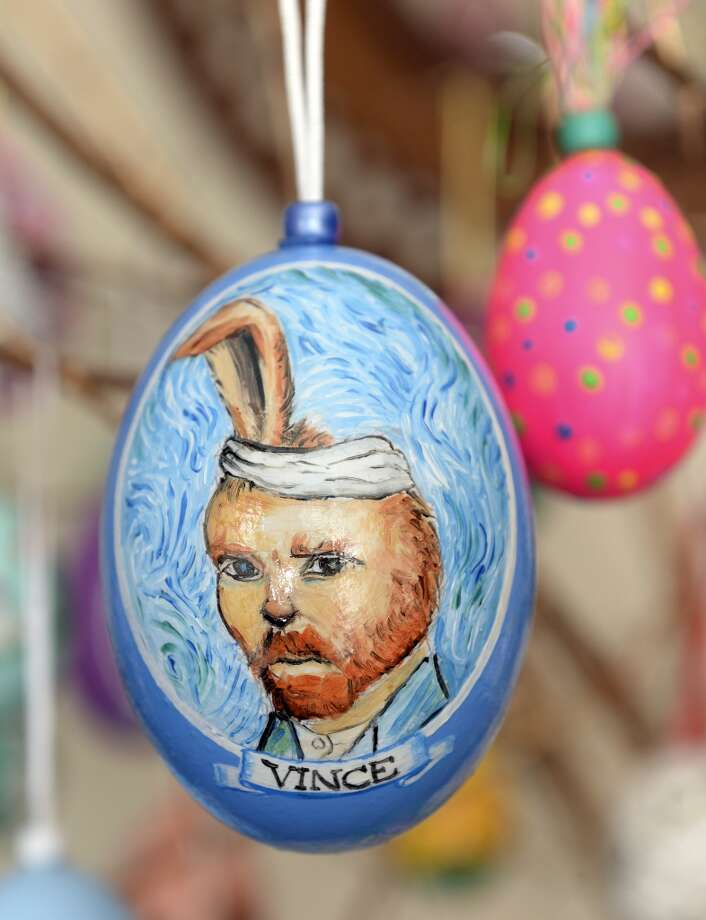 Dave Thayer of Denver used a self-portrait of Vincent Van Gogh as the inspiration for this easter egg. Thayer paints a handful of easter eggs each year and adds them to his tree of eggs he puts up in his living room. Photo: Karl Gehring, Denver Post Via Getty Images