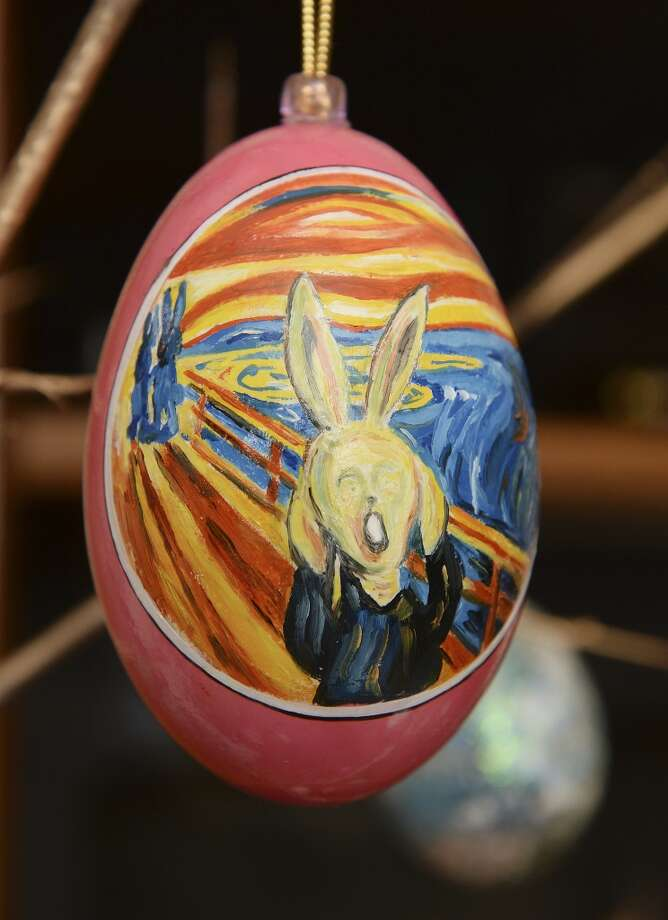 This screaming bunny recalls the painting by Norwegian artist Edvard Munch. Dave Thayer of Denver paints a handful of easter eggs each year and adds them to his tree of eggs. Photo: Karl Gehring, Denver Post Via Getty Images