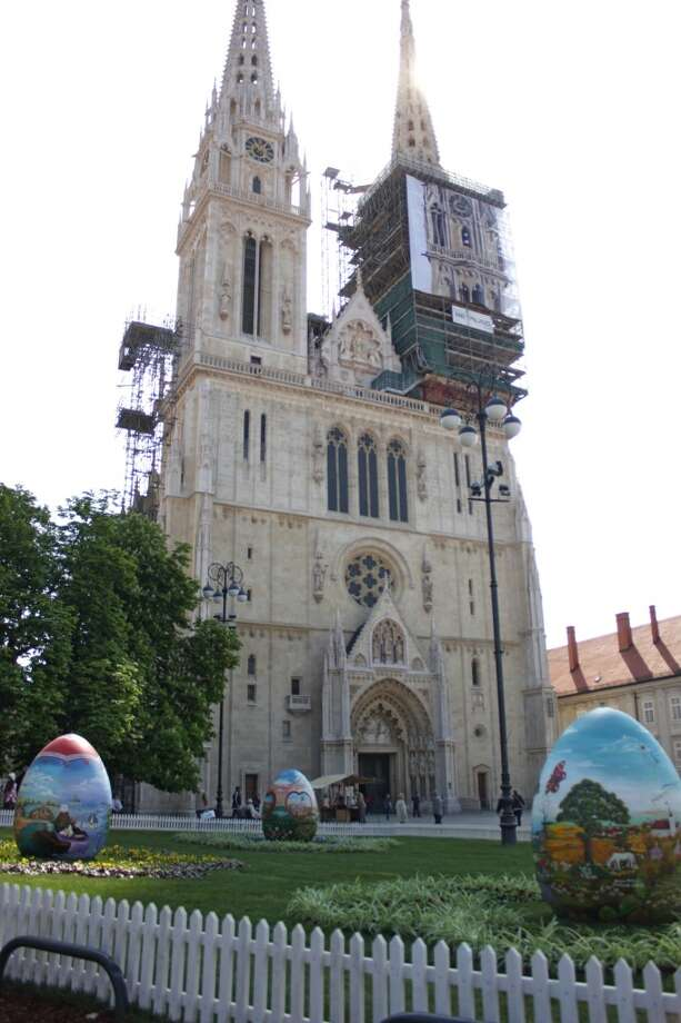 People get ready for Easter in Zagreb, Croatia on April 14. Easter eggs are placed on the square in front of Zagreb Cathedral. Both Catholics and Orthodoxs celebrate the holiday on April 20. Photo: Anadolu Agency, Getty Images