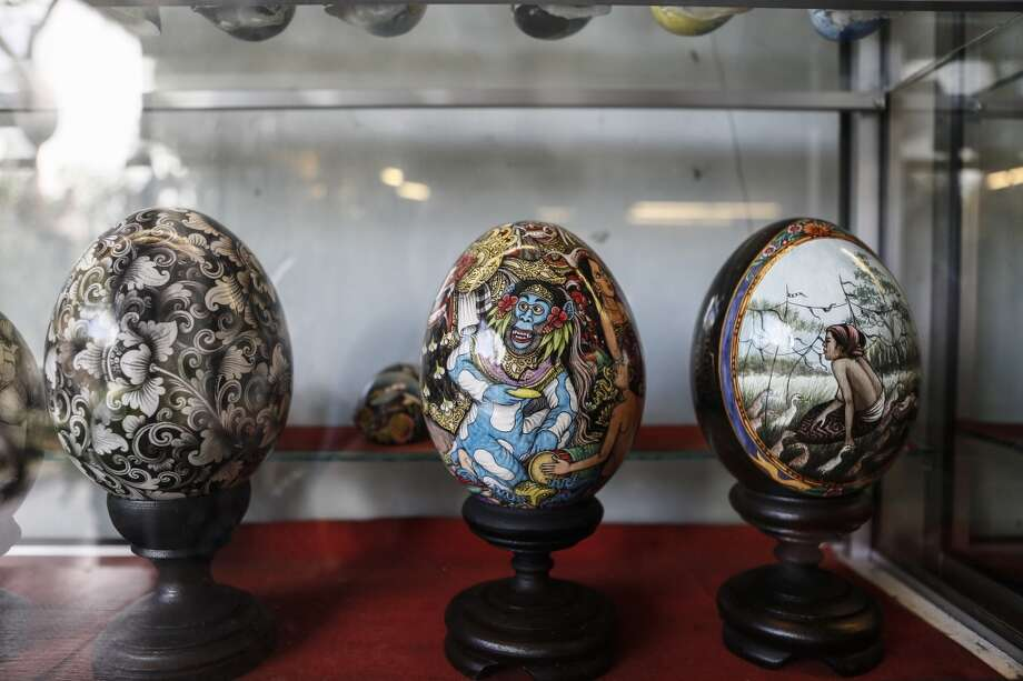 Painted egg for Easter displayed at Wayan Sadra's workshop. Photo: Putu Sayoga, Getty Images