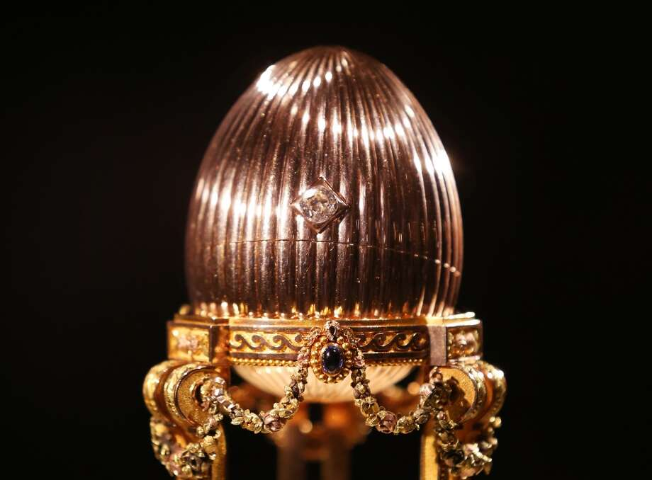 The Third Faberge Imperial Easter Egg is displayed at Court Jewellers Wartski in London, England. This rare Imperial Faberge Easter Egg, made for the Russian Royal family in 1887, thought to be worth tens of millions of dollar, was seized by the Bolsheviks after the Russian revolution.  It was sold at auction in New York in 1964 as a 'Gold watch in egg form case' for $2450 - its provenance then unknown. Later a buyer in the US Mid-West bought it for possible scrap metal value until he discovered its true value. Photo: Peter Macdiarmid, Getty Images