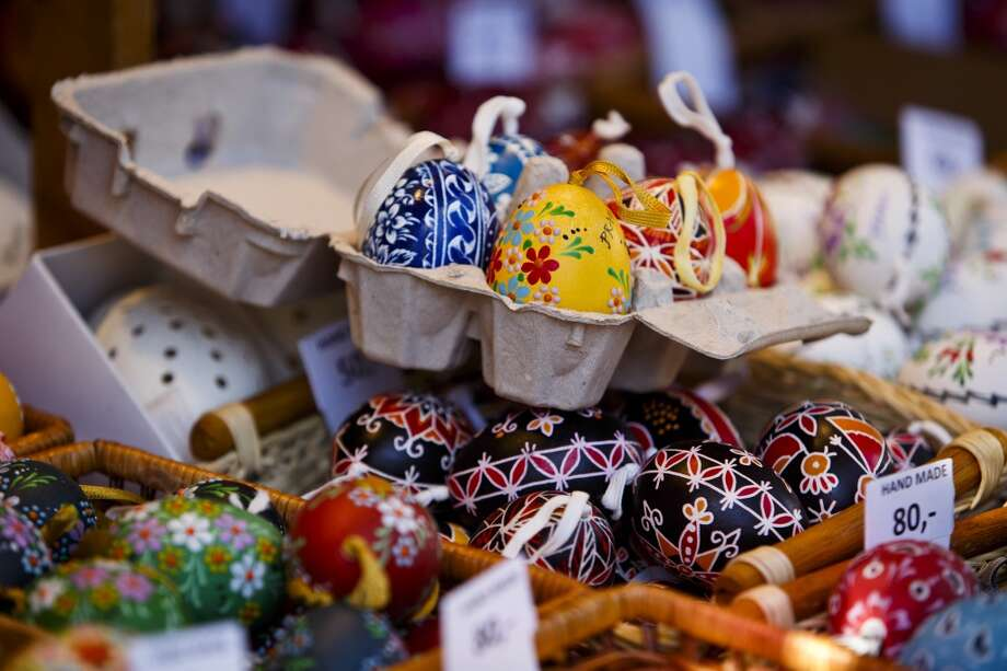 Painted Easter eggs are displayed for sale at the traditional Easter market in Prague, Czech Republic. Across the country traditional Easter markets are being held, selling colorful Easter eggs and decorations along with other hand crafted gifts. Photo: Matej Divizna, Getty Images