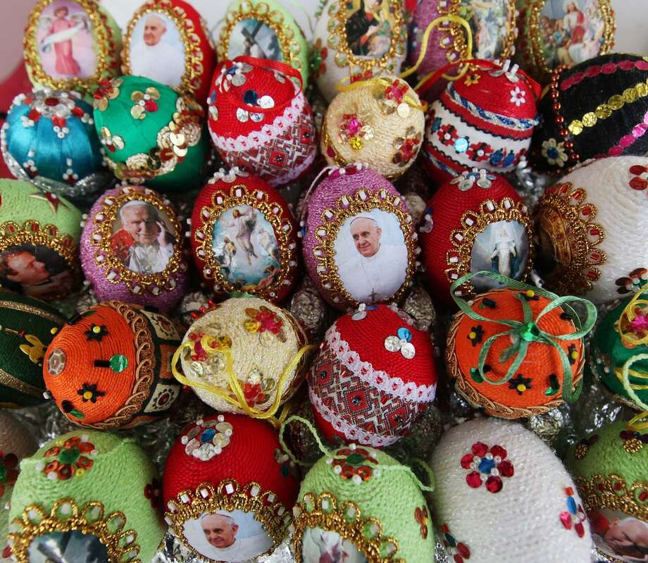 Handmade Easter Eggs for sale in Warsaw, Poland, Saturday, April 12. Photo: Czarek Sokolowski, Associated Press