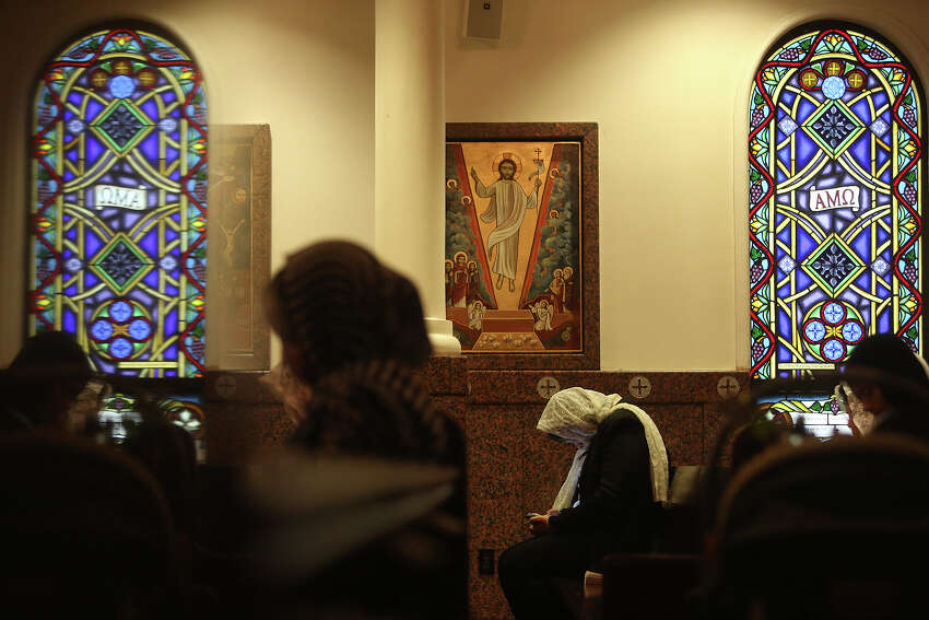Worshippers recite and sing hymns during Evening Pascha for Holy Week at St. Antony The Great Coptic Orthodox Church in San Antonio on Tuesday, April 15, 2014.