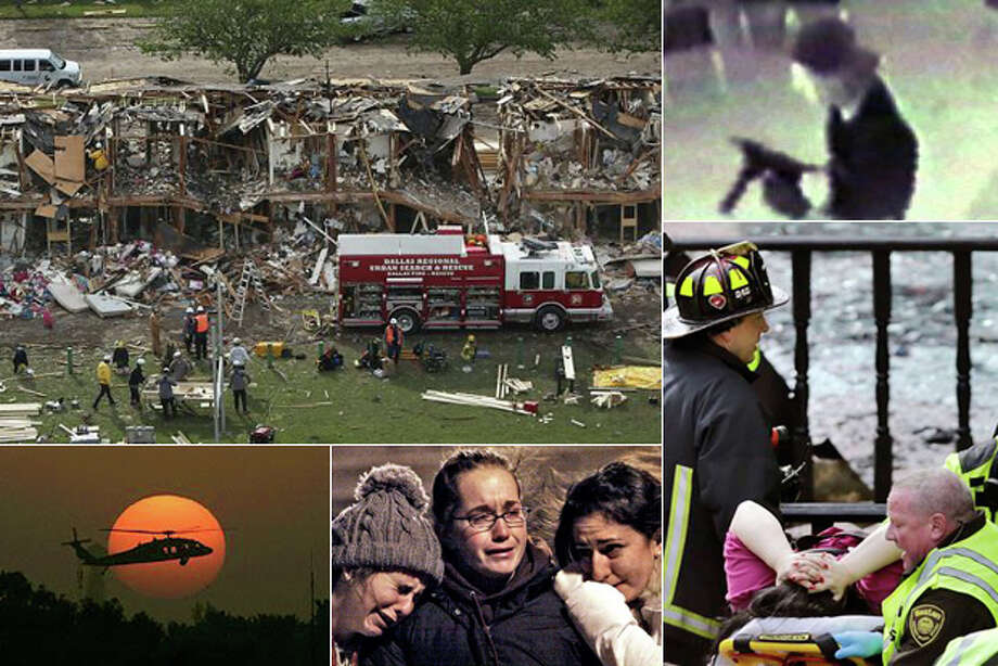 A week filled with American tragedies Americans this week are remembering the anniversaries of the plant explosion in West, Texas (top left), and the bombing of the Boston Marathon (bottom right). However, the span of April 14-20 is one that has been filled with tragedies for Americans throughout history. See these other horrific events that happened during this infamous seven-day span in America. Photo: AP Composite Photo