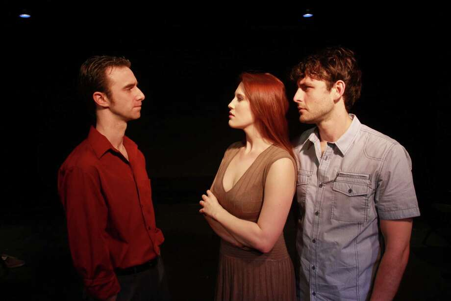 "(For the Chronicle/Gary Fountain, April 7, 2014) Dain Geist as M, from left, Haley Hussey as W, and Bobby Haworth as John, in this scene from Theater LaB Houston's local premiere of the off-Broadway play, ""The Cockfight Play."" Photo: Gary Fountain, Freelance / Copyright 2014 by Gary Fountain"