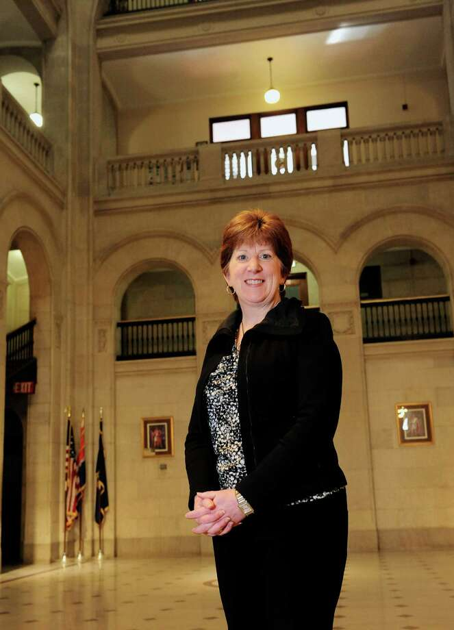 Albany Mayor Kathy Sheehan poses for a photograph inside the City Hall building  Wednesday morning, April 16, 2014, in Albany, N.Y.   (Paul Buckowski / Times Union) Photo: Paul Buckowski / 00026487A