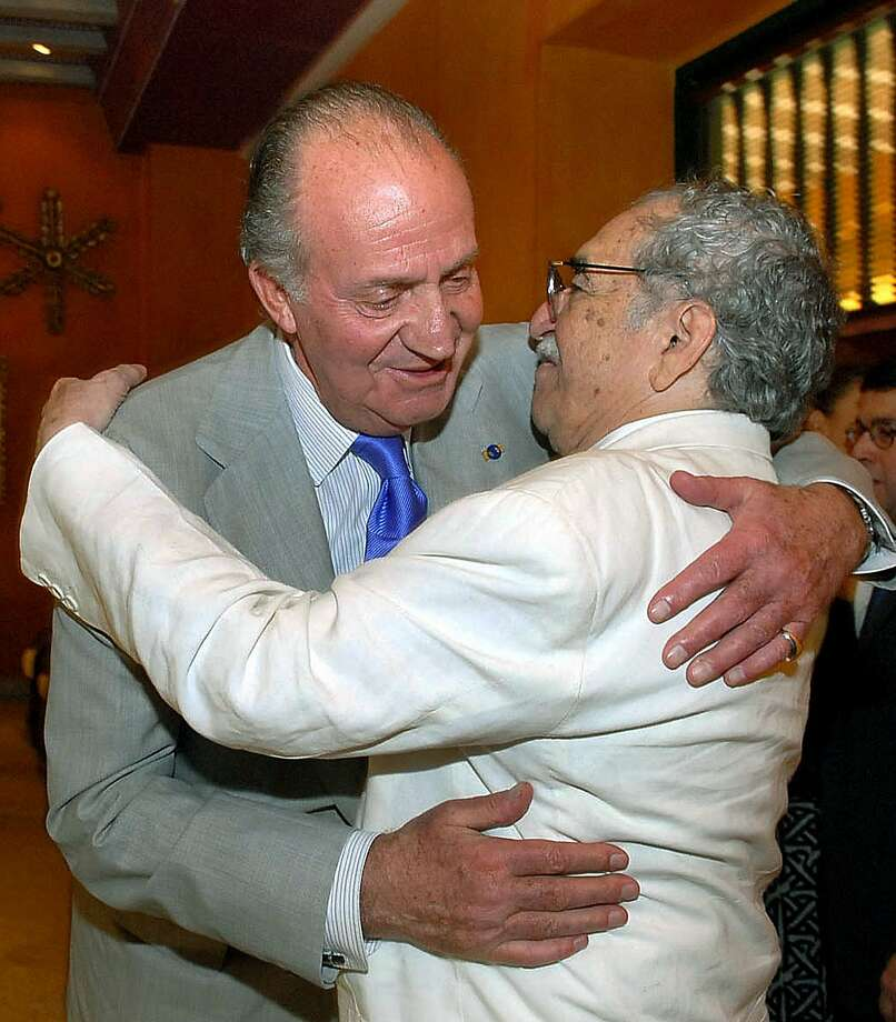 "Spain's King Juan Carlos (left) hugs Colombian writer and Nobel Prize for Literature 1982 Gabriel Garcia Marquez during the IV International Congress of the Spanish Language, 26 March 2007 in Cartagena, Colombia. Colombia's Nobel-winning novelist Gabriel Garcia Marquez died on April 17, 2014 in Mexico City at the age of 87, Mexican and Colombian media reported. Garcia Marquez, the author of ""One Hundred Years of Solitude,"" passed away at his home with his wife and two sons by his side, Mexico's Televisa anchor Joaquin Lopez-Doriga said on Twitter, echoing reports in Mexican and Colombian newspapers. Photo: Cesar Carrion, AFP/Getty Images"