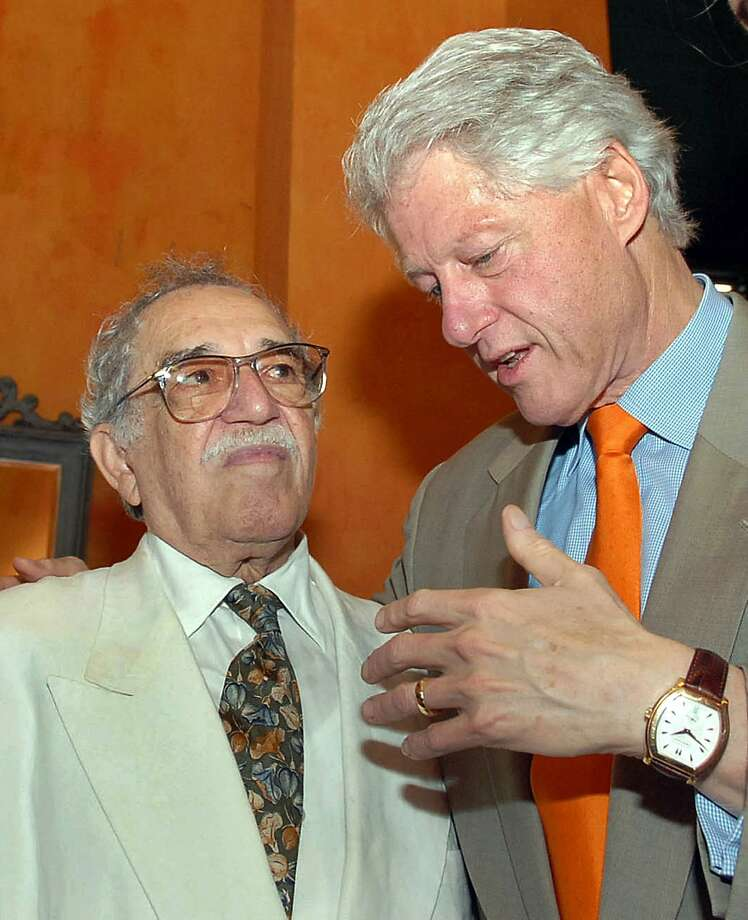"Former US President Bill Clinton (right) speaks with Colombian writer and 1982 Literature Nobel Prize laureate Gabriel Garcia Marquez during the IV International Congress of the Spanish Language on March 26, 2007 in Cartagena, Colombia. Colombia's Nobel-winning novelist Gabriel Garcia Marquez died on April 17, 2014 in Mexico City at the age of 87, Mexican and Colombian media reported. Garcia Marquez, the author of ""One Hundred Years of Solitude,"" passed away at his home with his wife and two sons by his side, Mexico's Televisa anchor Joaquin Lopez-Doriga said on Twitter, echoing reports in Mexican and Colombian newspapers. Photo: Cesar Carrion, AFP/Getty Images"